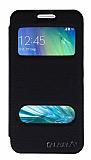 Eiroo Samsung Galaxy A3 Vantuzlu Pencereli Siyah Deri Kılıf