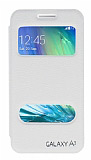 Eiroo Samsung Galaxy A3 Vantuzlu Pencereli Beyaz Deri K�l�f