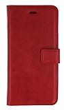 Eiroo LG L80 Standlı Cüzdanlı Kırmızı Deri Kılıf
