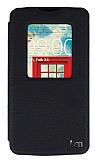 Eiroo LG L80 Vantuzlu Pencereli Siyah Deri Kılıf