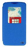 Eiroo LG L80 Vantuzlu Pencereli Mavi Deri Kılıf