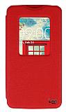 Eiroo LG L80 Vantuzlu Pencereli Kırmızı Deri Kılıf