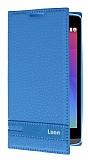 LG Leon Gizli Mıknatıslı Yan Kapaklı Mavi Deri Kılıf