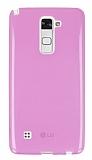 Eiroo LG Stylus 2 Ultra İnce Şeffaf Pembe Silikon Kılıf
