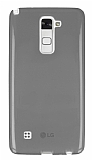 Eiroo LG Stylus 2 Ultra İnce Şeffaf Siyah Silikon Kılıf