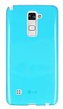 Eiroo LG Stylus 2 Ultra İnce Şeffaf Mavi Silikon Kılıf