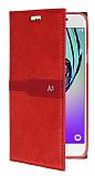 Eiroo Samsung Galaxy A3 2016 Gizli Mıknatıslı Kırmızı Deri Kılıf