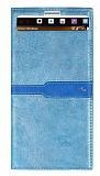 LG V10 Gizli Mıknatıslı Pencereli Mavi Deri Kılıf