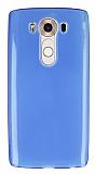 LG V10 Ultra İnce Şeffaf Mavi Silikon Kılıf