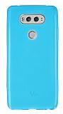 LG V20 Ultra İnce Şeffaf Mavi Silikon Kılıf