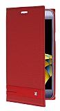 Eiroo Phantom LG X Cam Gizli Mıknatıslı Yan Kapaklı Kırmızı Deri Kılıf