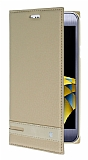 LG X Cam Gizli Mıknatıslı Yan Kapaklı Gold Deri Kılıf
