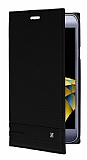 LG X Cam Gizli Mıknatıslı Yan Kapaklı Siyah Deri Kılıf