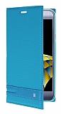 LG X Cam Gizli Mıknatıslı Yan Kapaklı Mavi Deri Kılıf