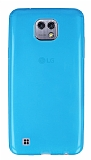 Eiroo LG X cam Ultra İnce Şeffaf Mavi Silikon Kılıf