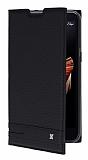 LG X screen Gizli Mıknatıslı Yan Kapaklı Siyah Deri Kılıf