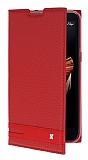LG X screen Gizli Mıknatıslı Yan Kapaklı Kırmızı Deri Kılıf