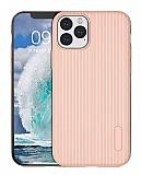Eiroo Line iPhone 11 Pro Pembe Silikon Kılıf