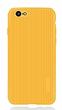 Eiroo Line iPhone 7 / 8 Sarı Silikon Kılıf