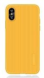 Eiroo Line iPhone X / XS Sarı Silikon Kılıf