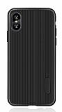 Eiroo Line iPhone XS Max Siyah Silikon Kılıf