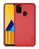 Eiroo Line Samsung Galaxy M30S Kırmızı Silikon Kılıf