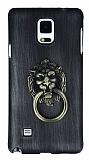 Eiroo Lion Ring Samsung Galaxy Note 4 Selfie Yüzüklü Dark Silver Rubber Kılıf