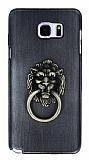 Eiroo Lion Ring Samsung Galaxy Note 5 Selfie Yüzüklü Dark Silver Rubber Kılıf