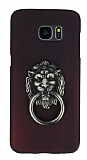 Eiroo Lion Ring Samsung Galaxy S7 Edge Selfie Yüzüklü Bordo Rubber Kılıf