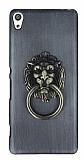 Eiroo Lion Ring Sony Xperia XA Selfie Yüzüklü Dark Silver Rubber Kılıf