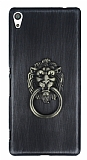 Eiroo Lion Ring Sony Xperia XA Ultra Selfie Yüzüklü Dark Silver Rubber Kılıf