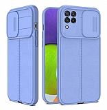 Eiroo Liquid Camera Samsung Galaxy A22 4G Kamera Korumalı Mor Silikon Kılıf