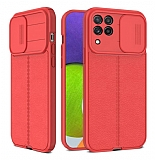 Eiroo Liquid Camera Samsung Galaxy A22 4G Kamera Korumalı Kırmızı Silikon Kılıf