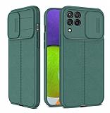 Eiroo Liquid Camera Samsung Galaxy A22 4G Kamera Korumalı Yeşil Silikon Kılıf