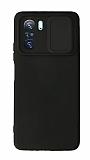 Eiroo Liquid Camera Xiaomi Poco F3 Kamera Korumalı Siyah Kılıf