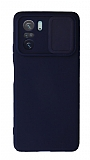 Eiroo Liquid Camera Xiaomi Poco F3 Kamera Korumalı Lacivert Kılıf
