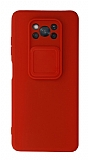 Eiroo Liquid Camera Xiaomi Poco X3 Pro Kamera Korumalı Kırmızı Kılıf