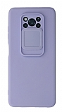 Eiroo Liquid Camera Xiaomi Poco X3 Pro Kamera Korumalı Mor Kılıf