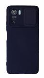 Eiroo Liquid Camera Xiaomi Redmi K40 Pro Kamera Korumalı Lacivert Kılıf