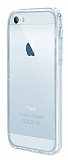 Eiroo Liquid Hybrid iPhone 5 / 5S Silver Kenarl� �effaf Silikon K�l�f