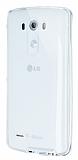 Eiroo Liquid Hybrid LG G3 S / G3 Beat Silver Kenarlı Şeffaf Silikon Kılıf