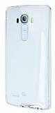 Eiroo Liquid Hybrid LG G4 Silver Kenarlı Şeffaf Silikon Kılıf