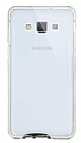 Eiroo Liquid Hybrid Samsung Galaxy A7 Gold Kenarlı Şeffaf Silikon Kılıf
