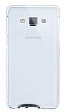 Eiroo Liquid Hybrid Samsung Galaxy A7 Silver Kenarlı Şeffaf Silikon Kılıf