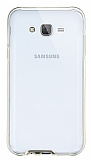 Eiroo Liquid Hybrid Samsung Galaxy J5 Gold Kenarlı Şeffaf Silikon Kılıf