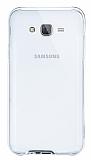 Eiroo Liquid Hybrid Samsung Galaxy J7 Silver Kenarlı Şeffaf Silikon Kılıf