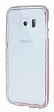 Eiroo Liquid Hybrid Samsung Galaxy S6 edge Pembe Kenarlı Şeffaf Silikon Kılıf