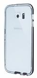 Eiroo Liquid Hybrid Samsung Galaxy S6 edge Siyah Kenarlı Şeffaf Silikon Kılıf