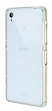 Eiroo Liquid Hybrid Sony Xperia Z3 Gold Kenarlı Şeffaf Silikon Kılıf