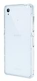 Eiroo Liquid Hybrid Sony Xperia Z3 Silver Kenarlı Şeffaf Silikon Kılıf